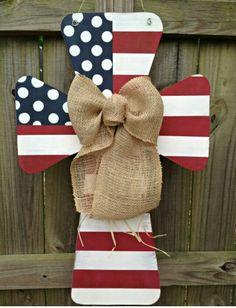Patriotic cross wooden door hanger