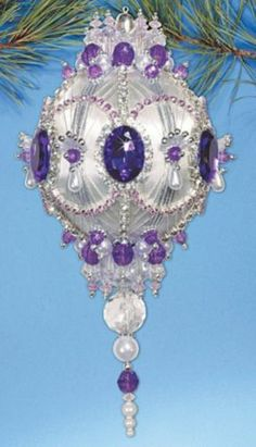 """Kit makes Collector Ornament """"Purple Majesty"""" White Violet Sequins Beads NEW Sequin Ornaments, Beaded Ornament Covers, Beaded Christmas Ornaments, Handmade Ornaments, Ball Ornaments, Handmade Christmas, Christmas Crafts, Purple Christmas, Victorian Christmas"""