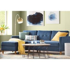 Get inspired by Modern Living Room Design photo by Wayfair Catalog. Wayfair lets you find the designer products in the photo and get ideas from thousands of other Modern Living Room Design photos. Modern Contemporary Living Room, Contemporary Interior Design, Blue Couch Living Room, Living Room Decor, Blue And Yellow Living Room, Wayfair Living Room Furniture, Family Room Design, Family Rooms, Living Room Designs