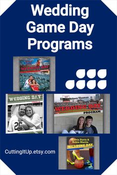 Programs, Programs, get your programs here! Are you looking for your very own Wedding Game Day Program printed on Magazine paper and themed through and through? Well then, as a fellow Sports Bride, I'd be happy to make those for you! Softball Wedding, Basketball Wedding, Sports Wedding, Wedding Games, Wedding Programs, Wedding Reception, Wedding Day, Ticket Invitation, Invitations