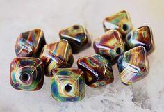 10 Raku Crystals ,  organic handmade glass beads, earthy lampwork beads by Beadfairy Lampwork, SRA