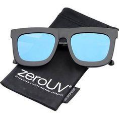 zeroUV - High Fashion Horn Rimmed Flash Mirror Flat Lens Bold Square Sunglasses 65mm