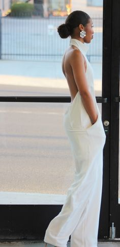 White Backless Halter Jumpsuit @philthyragz