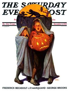"""The Saturday Evening Post"" magazine cover (November 2, 1935) - ""Halloween Scare"" by Frederic Stanley"