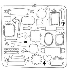 Doodle banners frames and design elements vector ribbon - by. Informations About Doodle banners fr Bullet Journal Fonts, Bullet Journal Frames, Bullet Journal Planner, Bullet Journal Headers, Bullet Journal Writing, Bullet Journal Ideas Pages, Bullet Journal Inspiration, Banner Doodle, Mind Map Design