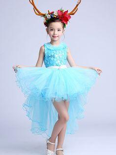 Blue Stereo Flower Short Front Long Back Dance Dress for Kids Children. #dancewear #girlsfashion #partydress #jollyhers