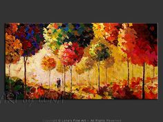 Canvas painting by Lena Karpinsky ⋆ Fantastic Autumn With You ⋆ buy now or order a commission. Original home decor art for your home interior. Block Painting, Easy Canvas Painting, Watercolor Landscape Paintings, Diy Canvas Art, Canvas Paintings, Sponge Painting, Wall Canvas, Fantasy Landscape, Landscape Art