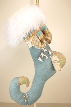 Lenae May 'Blue Moon' Fiber Art Elfin Stocking from the 'Cream Shoppe' Collection | Flickr - Photo Sharing!