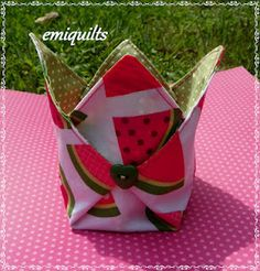 """Fabric basket.  If you start with a circle, the points won""""t be so tall, but more like a curved petal."""