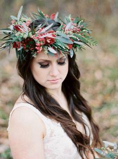 Rustic wintery marsala floral crown: http://www.stylemepretty.com/wisconsin-weddings/wausau-wisconsin/2016/01/20/northwoods-elegant-marsala-wedding-inspiration/ | Photography: Natashia Nicole - http://natashianicolephotography.com/