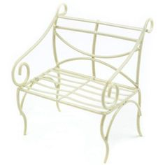 Touch of Nature Mini Iron Fairy Garden Bench, Cream Wall Seating, Patio Seating, Sitting Bench, Southern Living Christmas, Mini Iron, Iron Bench, Lawn Furniture, Miniature Fairy Gardens, Touch