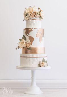 marble wedding cakes Copper World Wedding Cake, Map Wedding Cake, Metallic Wedding Cake Elegant Wedding Cakes, Beautiful Wedding Cakes, Wedding Cake Designs, Beautiful Cakes, Creative Wedding Cakes, Copper Wedding Cake, Metallic Wedding Cakes, Metallic Cake, Travel Cake