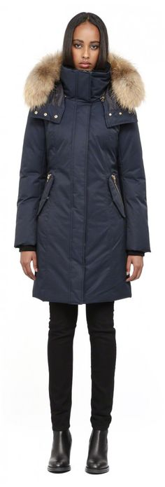 Mackage - KERRY LONG NAVY FITTED WINTER DOWN PARKA FOR WOMEN WITH FUR HOOD  Available in light grey, taupe or burgundy?