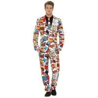 Men's Funky Comic Strip Stand Out Suit Stag Fancy Dress Smart Fashion Festival Suit With Jacket, Suit And Tie, White Costumes, Adult Costumes, Rave Costumes, Costume Blanc, Adult Fancy Dress, Frack, Party Suits