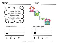 Student worksheet to practice writing la.  Visit my TpT store for more details!  It is part of my 70+ page Kodaly Green Packet