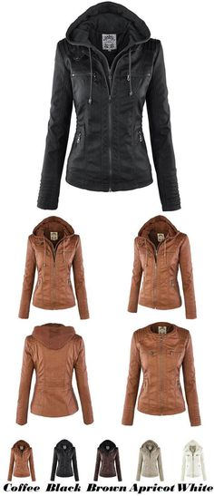 Women's Winter PU Leather Jacket Fashion Fall Winter Faux Leather Detachable Fake Two-piece Hood Zipper Jackets Coat for big sale! #coat #jacket #fashion #winter #leather #zipper #women