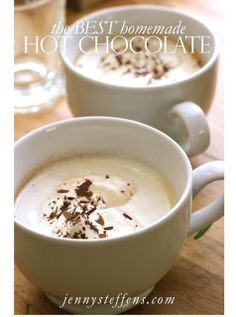 The BEST Homemade Hot Chocolate with Bittersweet Chocolate & Milk Chocolate... and Whipped Cream  http://jennysteffens.blogspot.com/2013/01/homemade-hot-chocolate.html