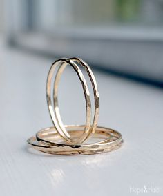 Skinny Gold Stacking Ring, Thin, Dainty 12K Gold Filled Stack Rings with Hammered Texture, Save more when you buy more!