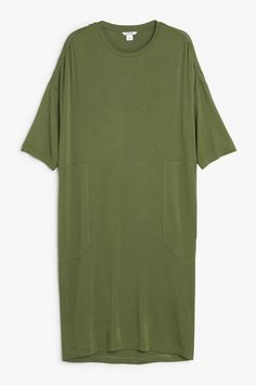 Monki Image 1 of Soft oversize dress in Green Yellowish Dark