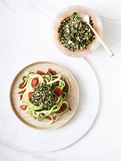 raw zucchini pasta with walnut, basil + kale pesto
