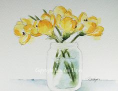 This is an original watercolor painting of a bouquet of yellow crocus in a glass…