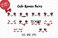 Cute Kawaii faces svg, dxf, eps, instant download, commercial use Kawaii Faces, Kawaii Cute, Eye Stickers, Star Work, Cute Faces, Svg Files For Cricut, Vector File, Felt Crafts, Hello Kitty