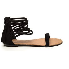 Step To It Faux Suede Sandals BLACK ($15) ❤ liked on Polyvore featuring shoes, sandals, black, black sandals, black caged sandals, black ankle wrap sandals, strappy sandals and caged sandals