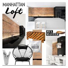 """Manhattan Loft"" by linea-prima ❤ liked on Polyvore featuring interior, interiors, interior design, home, home decor, interior decorating, espace, Harry Allen, interiordesign and iloveNY"