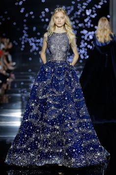 Zuhair Murad 2016 Haute Couture Collection - Long wide dress with midnight blue tulle bateau neckline dotted with silver crystals