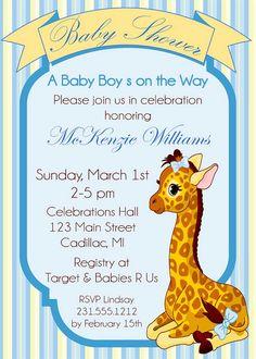 Giraffe Baby Shower Invitation Baby Boy by FabPartyPrints on Etsy
