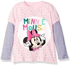 Disney Little Girls Toddler Minnie Mouse Ls 2Fer TShirt PinkGrey 5T -- BEST VALUE BUY on Amazon-affiliate link #Disneyfor Girls