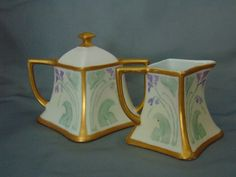 PH Leonard Austria Arts & Crafts Impressionist Violet Design Creamer & Sugar Set (c.1890-1908)