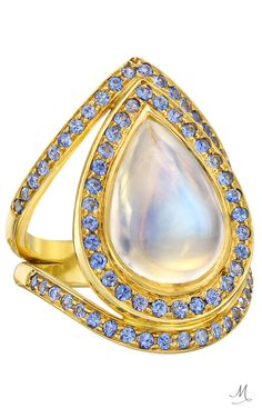 Pear Shaped Moonstone and Sapphire Accented Yellow Gold Ring from Temple St. Available from Betteridge Engagement Rings Cushion, Engagement Ring Buying Guide, Engagement Rings Round, Blue Moonstone, Moonstone Jewelry, Gemstone Rings, Cool Wedding Rings, Halo Rings, Halo Diamond