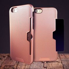 iPhone 7 plus case- card pocket holder rose gold w/ FREE glass screen protector