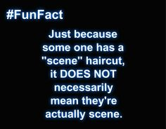 "I put ""scene"" in quotations because the stereotypical ""scene"" haircut is just a haircut. Having that haircut does not make someone automatically ""scene""."