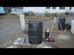 """Building 6"""" stove pipe rocket stove heater 55 gallon drum version part 2 of 2 - YouTube"""