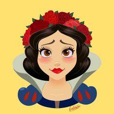 Princesas Disney com coroas de flores
