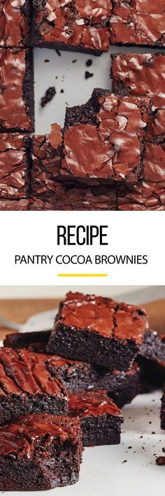 Pantry Cocoa Brownies Recipe. Looking for quick and easy desserts and ideas? Add this to your list of recipes to try! Homemade from scratch with cocoa, these simple fudgy treats are great adults and for kids.