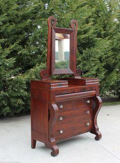 American Empire Crotch Mahogany Drop Center Dresser W Swivel Mirror C1840