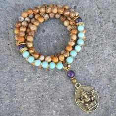 Nurture and calm, 108 bead jasper, amethyst and amazonite gemstone  mala wrap bracelet or necklace with Ganesh pendant