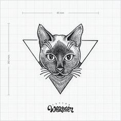 Géométrique chat tatouage temporaire - disponible en 2 tailles, noir et blancs, grand tatouage