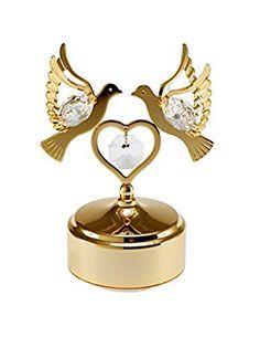 Love Birds 24k Gold-Plated Swarovski Crystal Rotating Musical Figurine