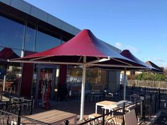 Costa Coffee Drive-Thru in Bedford have had 2 of our grand Poseidon tensile umbrellas installed. What a beautiful sky, but brrrrr it was cold! The Costa Coffee Bean balustrades were also supplied by Shades of Comfort Ltd. Costa Coffee, Beautiful Sky, Umbrellas, Terrace, Shades, Cold, Outdoor Decor, Projects, Design