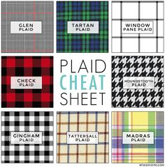 "You know, for when you're trying to describe those curtains to your roommate before you buy them for the living room. -EL fashioninfographics: "" Plaid Cheat Sheet Via """