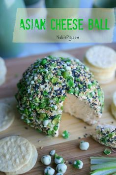 Asian Cheese Ball from NoblePig.com. Perfect appetizer for the holidays, Christmas and New Year's Eve.