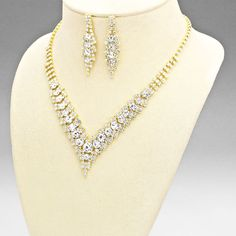 Gold and Clear Cascading Crystal V Shaped Necklace Set