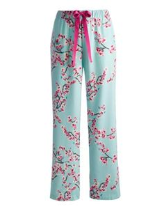 Joules Womens Flannel Pyjama Bottoms, Opal Blue Blossom. Cut from printed brushed cotton these pyjama bottoms are ideal for lazy evenings or those mornings where pyjamas are the order of the day.