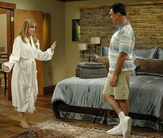 Megyn Price and Patrick Warburton in Rules of Engagement Megyn Price, Patrick Warburton, Rules Of Engagement, Best Shows Ever, Picture Photo, Tv Series, Shirt Dress, Set Design, Pictures