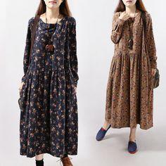 Long Sleeved Linen DressVintage Plus Size Maxi by dressladies