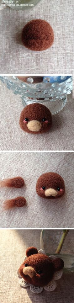 How to needle felt a teddy bear head.  Needle felting tutorial by Tamita.